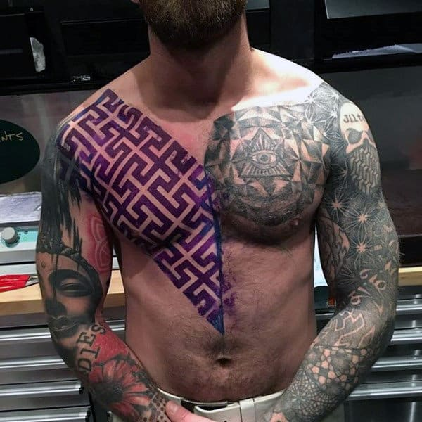 Mens Full Sleeve Torso Interesting Violet Geometric Pattern And Grey Tattoo