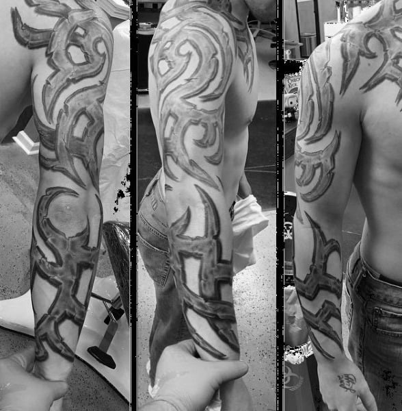 Mens Full Sleeve Tribal Stone Tattoos