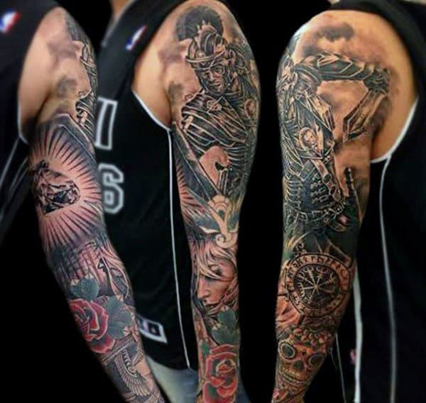 Mens Full Sleeve Warrior And Rose Tattoo