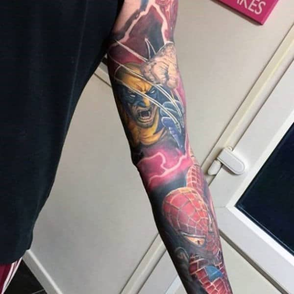Mens Full Sleeve Wolverine And Spiderman Tattoo