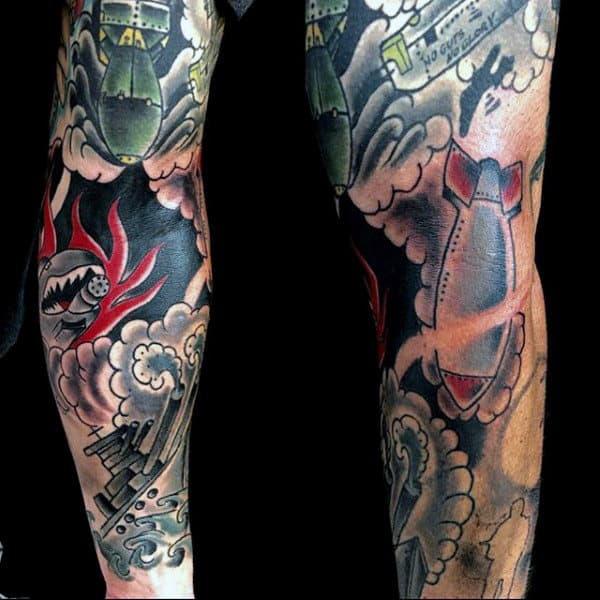 Mens Full Sleeved Bomb Themed Tattoo