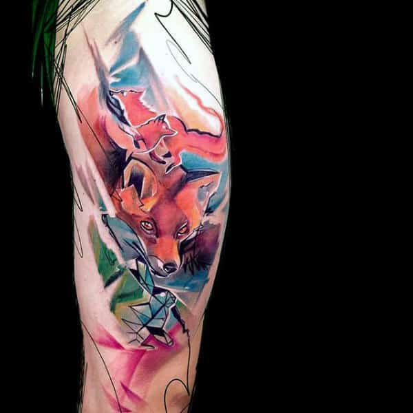 Mens Full Sleeved Impressive Colored Fox Tattoo