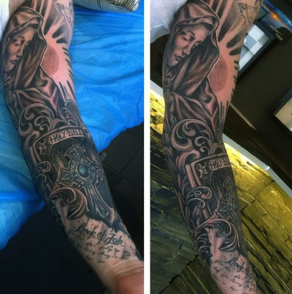 Mens Full Sleeves Bible Religious Tattoo
