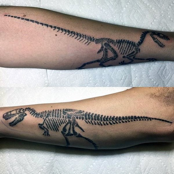 Mens Full Sleeves Black Dinosaur Outline Tattoo Ideas