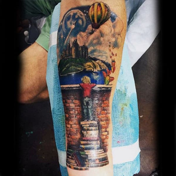 Mens Full Sleeves Boy Standing On Books To Watch Tattoo