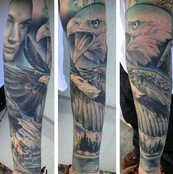 Mens Full Sleeves Brilliant Bald Eagle Tattoo