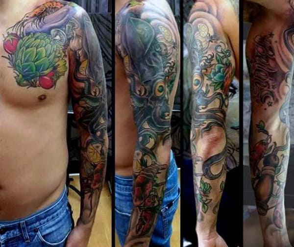 Mens Full Sleeves Culinary Tattoo