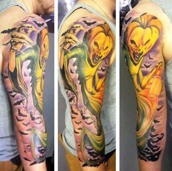 Mens Full Sleeves Glowing Yellow Halloween Tattoo
