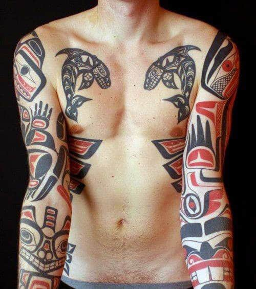 Mens Full Sleeves Gorgeous Haida Tattoo Design Ideas