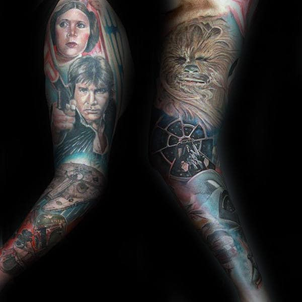 Mens Full Sleeves Gorgeous Star War Tattoo