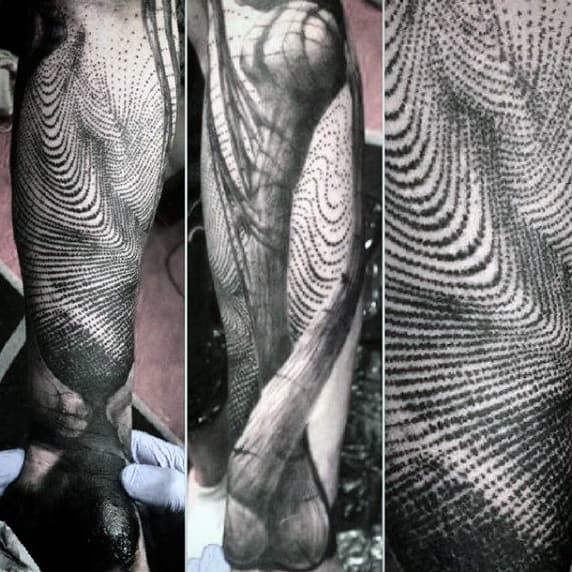 Mens Full Sleeves Grey Dotwork Fingerprint Tattoo
