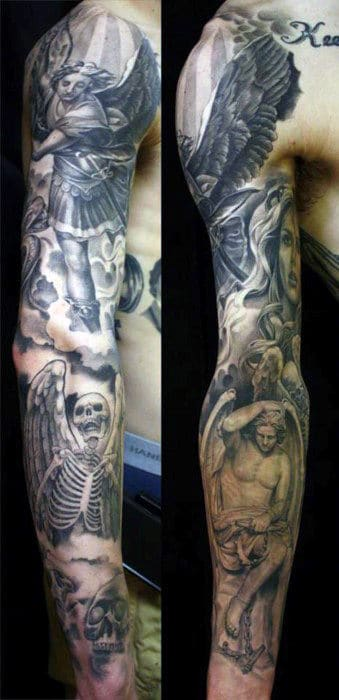 Mens Full Sleeves Guardian Angel And Skeleton With Wings Tattoo