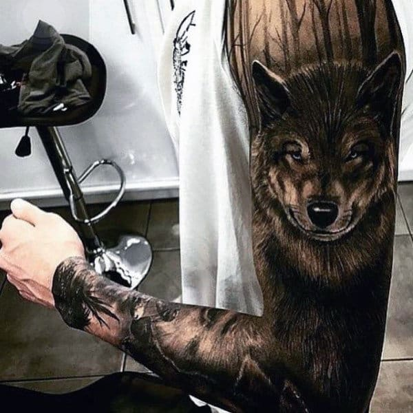 Mens Full Sleeves Hairy Beast Tattoo