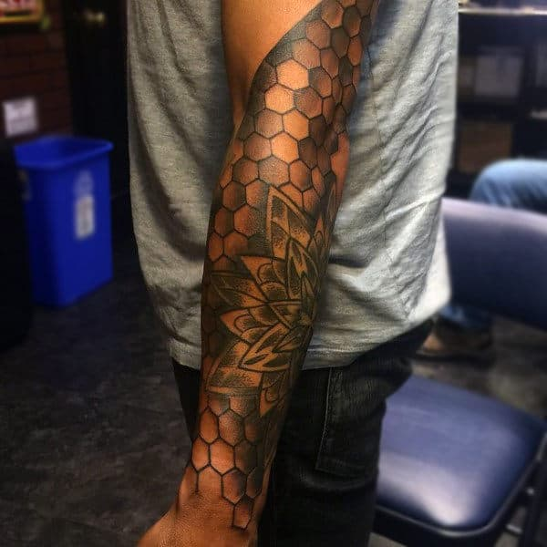 Mens Full Sleeves Honeycomb And Layered Petals Tattoo