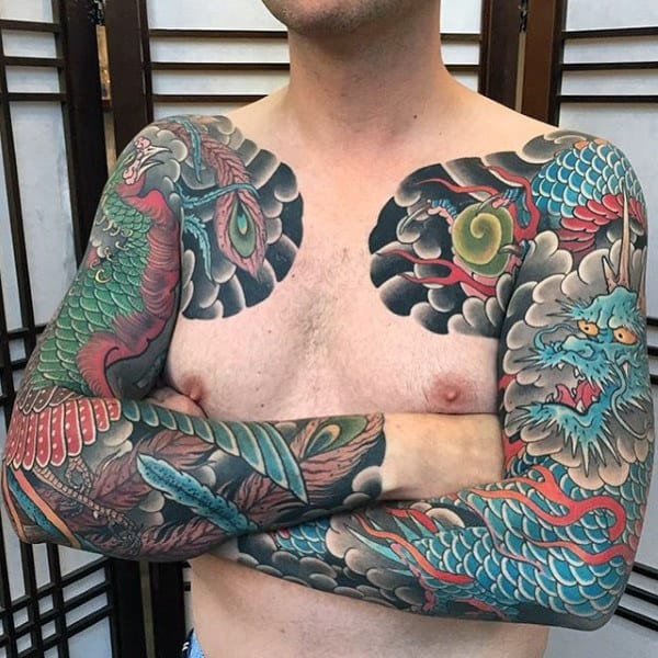 Mens Full Sleeves Imperial Dragon Tattoo