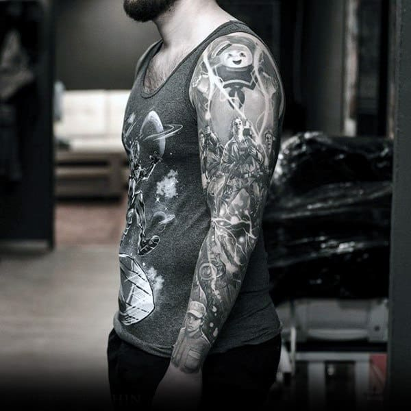 Mens Full Sleeves Interesting Grey Artwork Tattoo