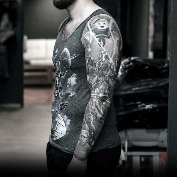 Mens Full Sleeves Interesting Grey Artwork Tattoo
