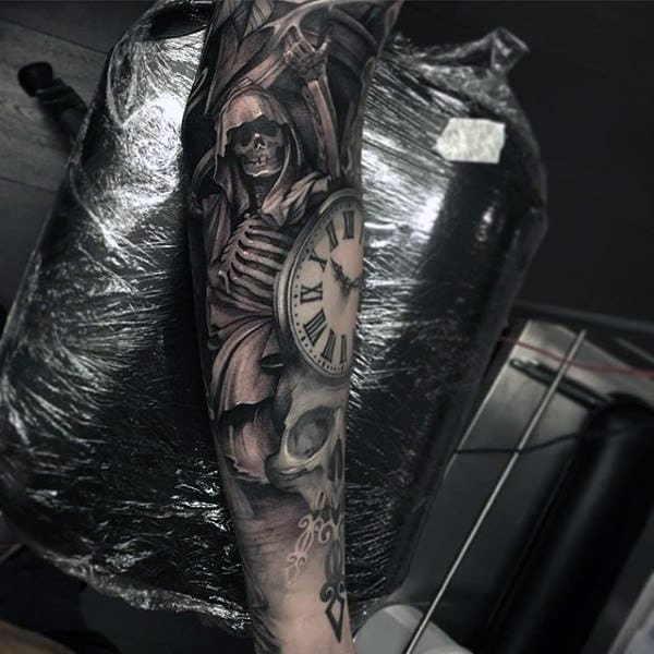 Mens Full Sleeves Interesting Tattoo Of Clock And Skeleton