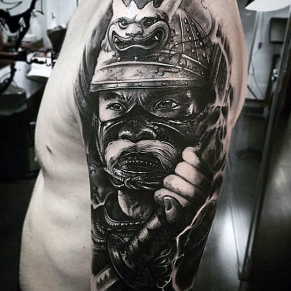 Mens Full Sleeves Interesting Tattoo Of Warrior With Unique Mask