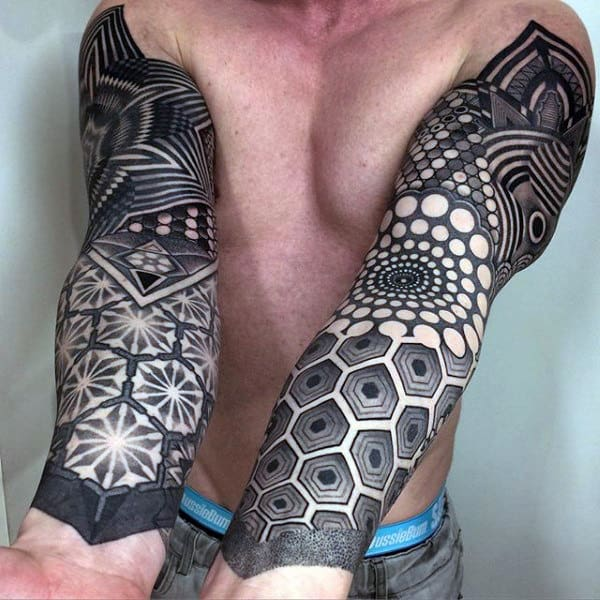 Mens Full Sleeves Outstanding Dark Dotwork Tattoos