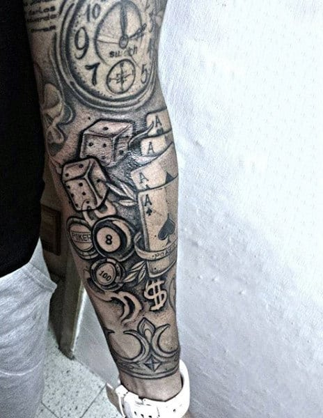 Mens Full Sleeves Poker Cards And Dice Tattoos