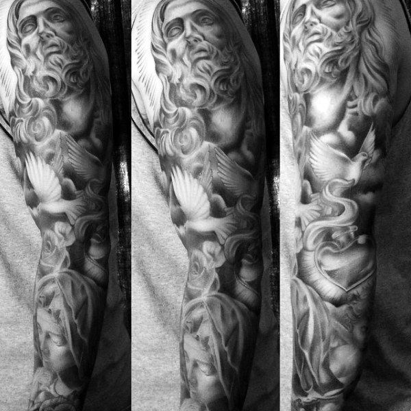 Mens Full Sleeves Religious Black Grey Tattoo