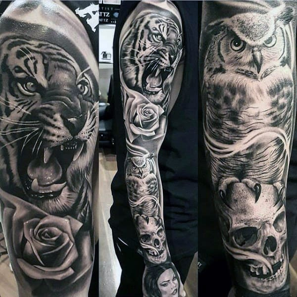 Mens Full Sleeves Rose Roaring Tiger Sick Tattoo