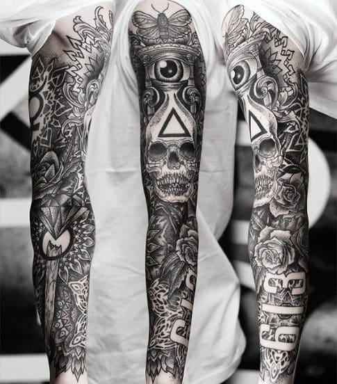 Mens Full Sleeves Timepiece Illuminati Tatoo