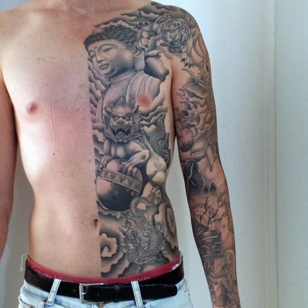 Mens Full Sleeves Torso Eastern Religions Tattoo