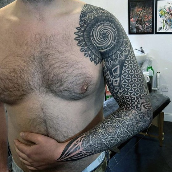 Mens Full Sleeves Wonderful Dotwork Tattoos