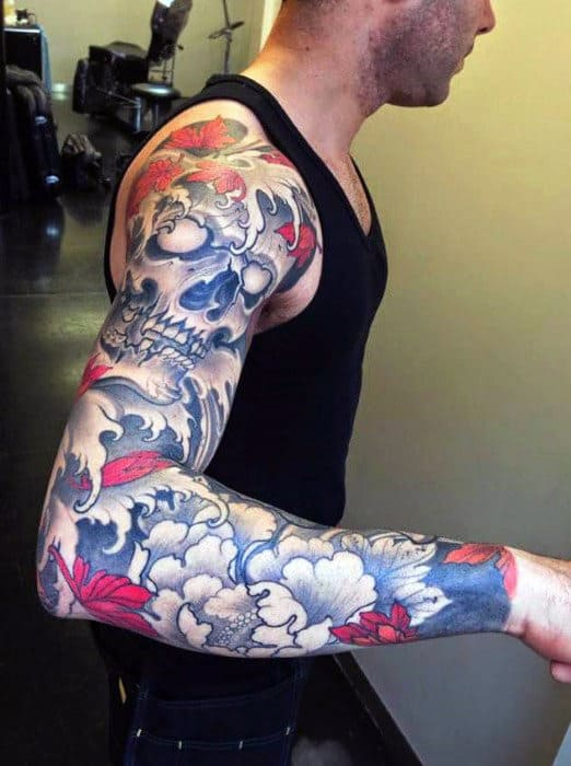 Mens Fulls Sleeves Cool Magenta And Navy Blue Tattoo