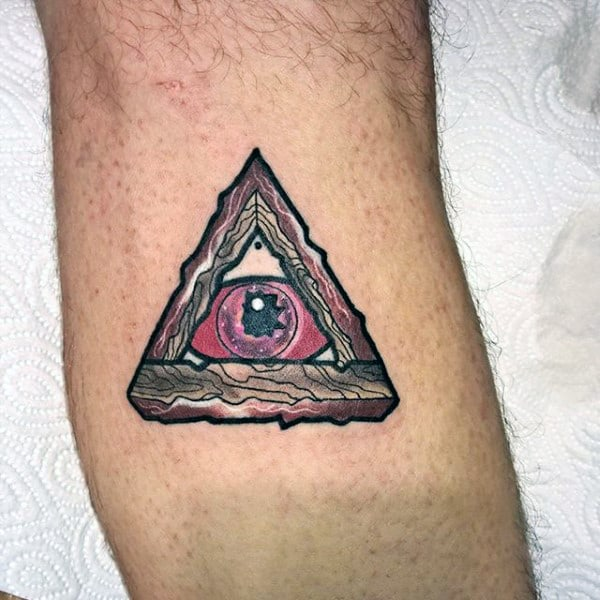 Mens Funky Pink And Black Traingle Eye Tattoo On Bicep