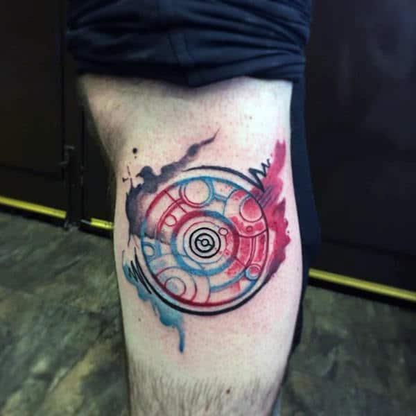 Mens Gallifreyan Watercolor Leg Calf Tattoos