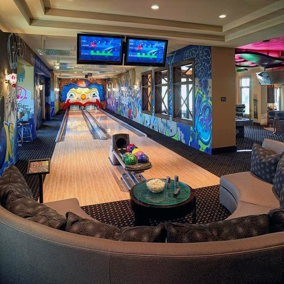 Mens Game Room Basement Bowling Alley Design Ideas With Graffiti Wall Art
