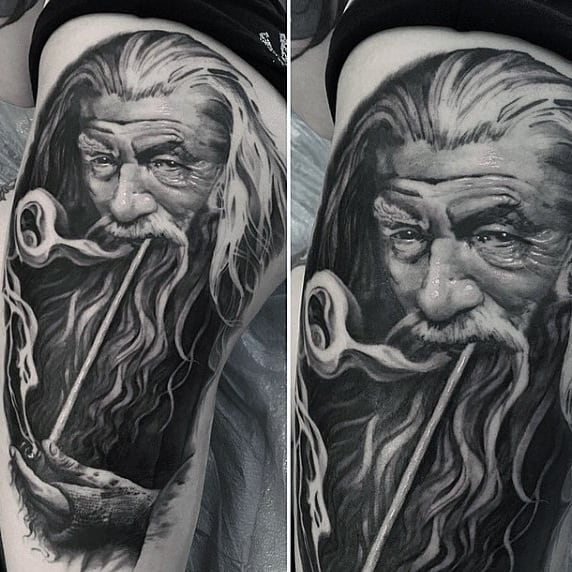 Mens Gandalf With Pipe Lord Of The Rings Thigh Tattoo