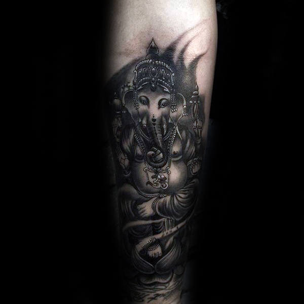 Mens Ganesh Religious Black And Grey Shaded Ink Inner Forearm Tattoos