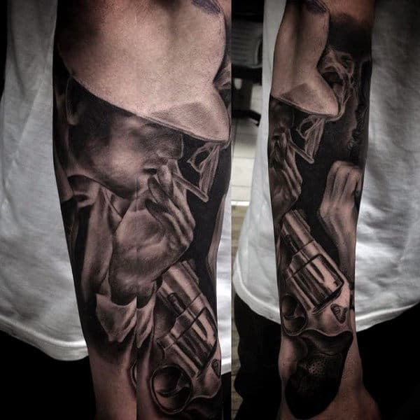Mens Gangster And Revolver Forearm Sleeve Tattoo Ideas
