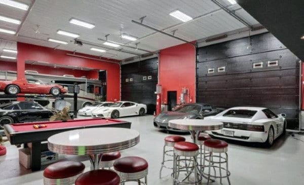 50 man cave garage ideas modern to industrial designs for Luxury garage interiors