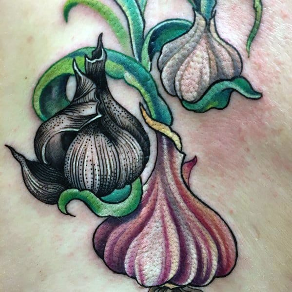 Mens Garlic Tattoo Designs