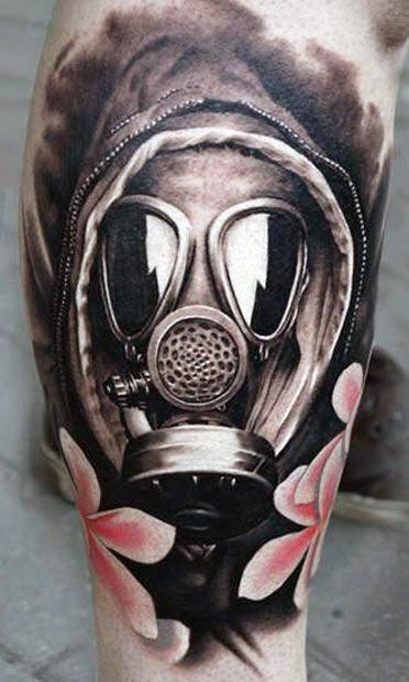 Mens Gas Mask Tattoo