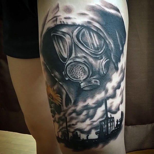 Mens Gas Mask Tattoos