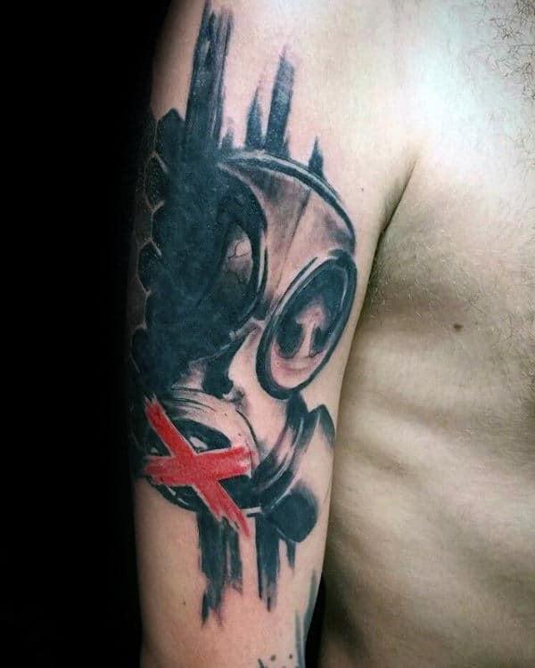 Mens Gas Mask Trash Polka Arm Tattoos