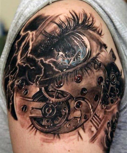 Men's Gear And Eye 3D Tattoos
