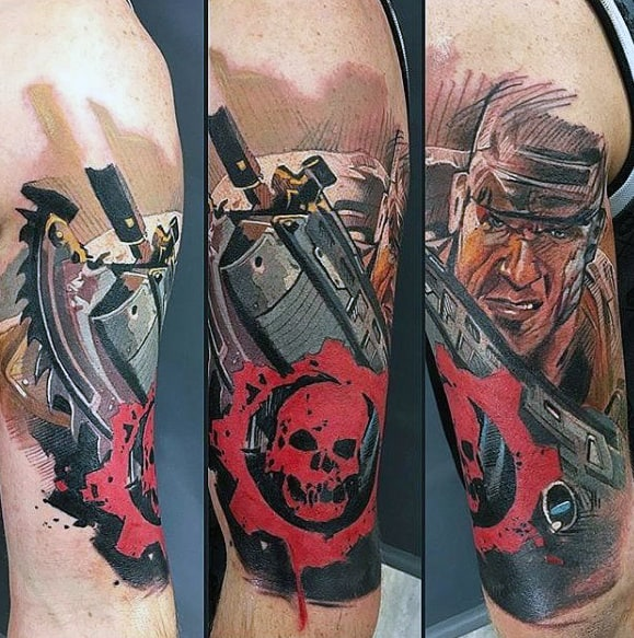 Mens Gears Of War Awesome Arm Tattoos