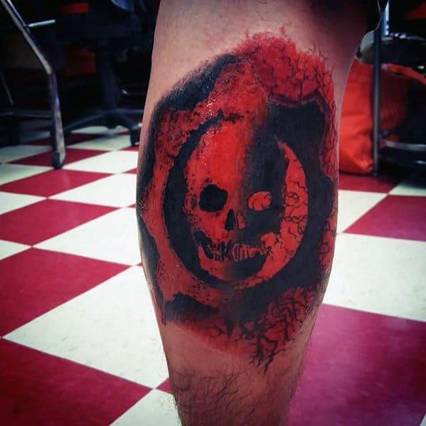 Mens Gears Of War Skull Leg Calf Tatoto