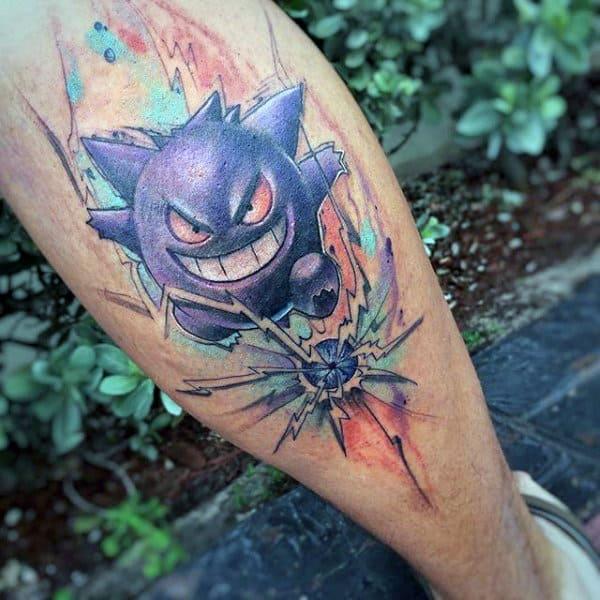Mens Gengar Back Of Leg Watercolor Pokemon Tattoos