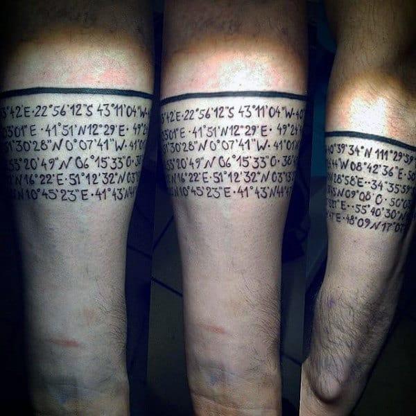 Mens Geographic Location Cordinates Travel Tattoo Armband