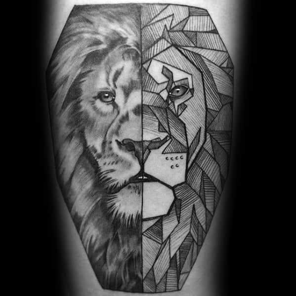 Mens Geometric Animal Tattoo Lion Design Ideas