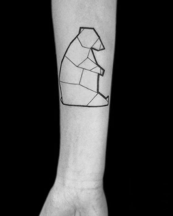 Mens Geometric Bear Simple Line Tattoo Design On Inner Forearm