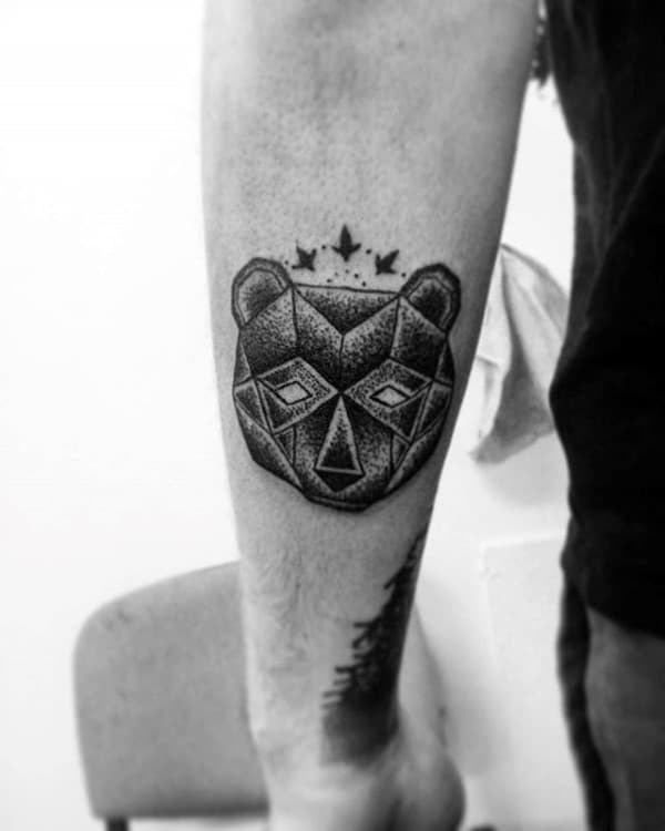 Mens Geometric Bear Small Tattoo Forearm Ideas